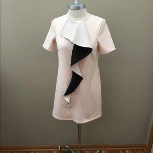 ASOS Pink/Cream/Black Dress With Ruffle